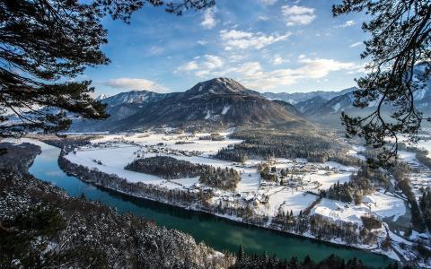冬天,一天,山,冰雪