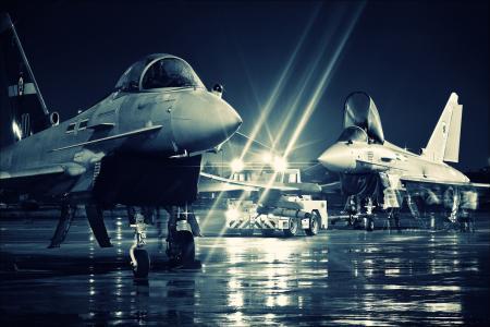 灯,英国,机场,fgr4,台风,raf,光,雨,eurofighter