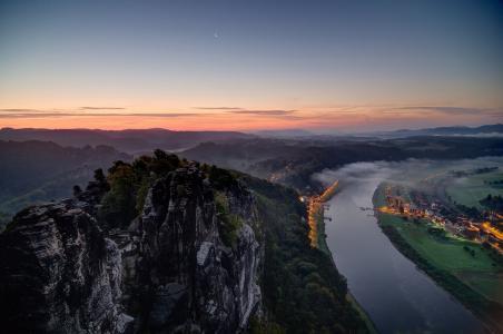 德国,撒克逊瑞士,河,灯,城市,山,天空,美,日落