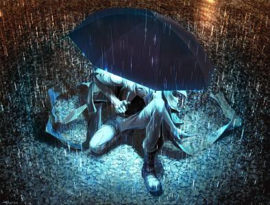 伞,光,伞,元丸,雨,家伙,艺术,晚上,水坑
