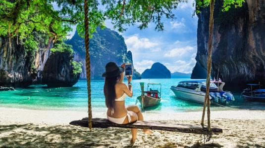 景观,海,岩石,海滩,泰国,女孩,秋千,船,游艇,分支机构
