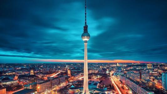 德国,柏林,塔,夜,灯,照明,天空,美女