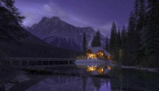 自然,加拿大,山,森林,湖,山寨,桥,夜晚,天空,星星