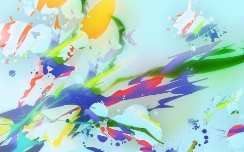 油漆,蓝色背景,颜色