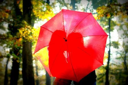 爱,恋爱中的情侣,红色,伞