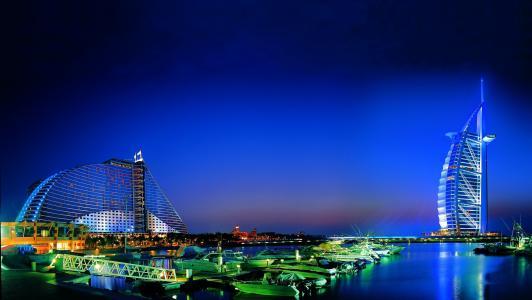 迪拜,酒店,帆,阿联酋,迪拜,阿联酋,晚上,城市,海