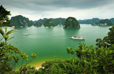 自然,越南,美丽,山,岩石,船舶,游客,天空,阴,度假村,休息,热带地区