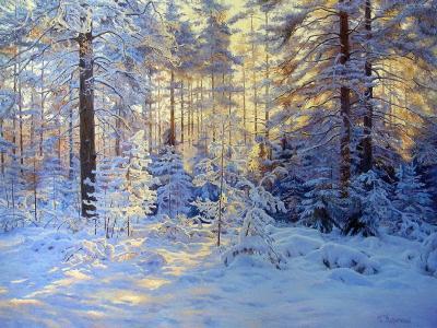 冬季森林,树木,雪,太阳光线,绘画,Gennady Kirichenko