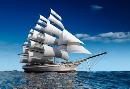 船,幻想,海,海洋,旗鱼,photoshop,美丽,3d,天空,云