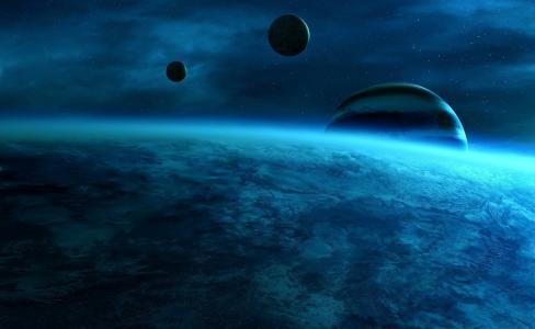 星球,空间,蓝色的颜色