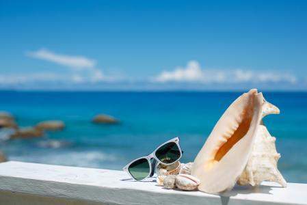 夏天,假期,海滩,配件,眼镜,太阳,贝壳,蓝蓝的天空,海