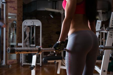 运动量来找到,健身,模型,姿势,看,图,酒吧