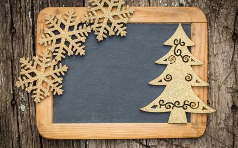 板,框架,雪花,新的一年,毛皮树,圣诞节