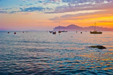 海,山,天空,小船,游艇,日落,Koktebel