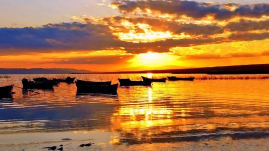 船,水,冷静,天空,日落,地平线