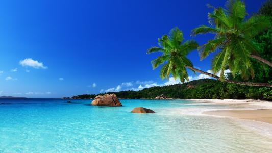 海,性质,海滩,岸,沙,石头,天蓝色,天空