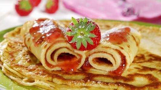 煎饼,浆果,草莓