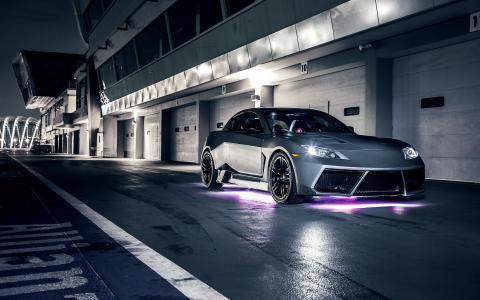 MazdaRX8,马自达,RX8,夜晚,电路,箱子,霓虹灯,紫色