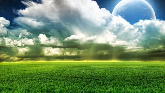 云,场,天空,月亮,性质,草