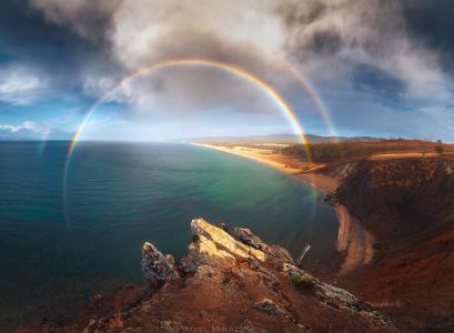 贝加尔湖彩虹,湖泊,岩石,天空,云彩,Minaev Pavel