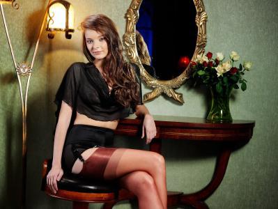 Ann Glazyrina,印第安纳州A,丝袜,坐,棕发,镜子,女孩