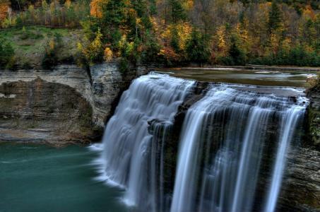 瀑布,森林,美女,溪流,树木