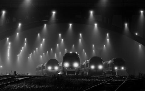 火车站,机车,黑色和白色背景,桥,方式,晚上