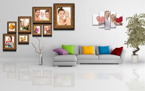 墙上,上,polyptych,植物,锅,绘画,房间