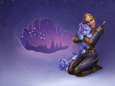 女孩,幼崽,艺术,幻想,魔兽世界,老虎,雪