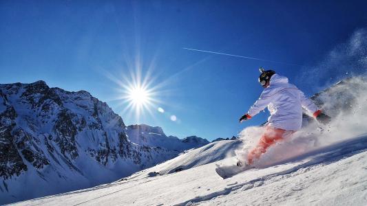 雪,骗子,山,肾上腺素,滑雪板,太阳,滑雪板