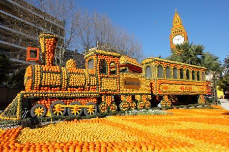 法国,柑橘,柠檬,橙色,火车,设计,柠檬,节日,芒通