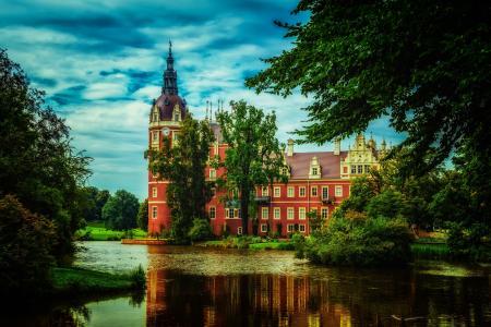 云,树,绿化,公园,城堡,池塘,德国