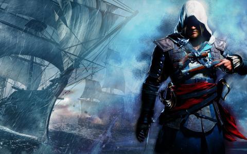 刺客信条4,黑旗,海盗,杀手,风暴,船只,武器,军刀,枪,帆,刀片