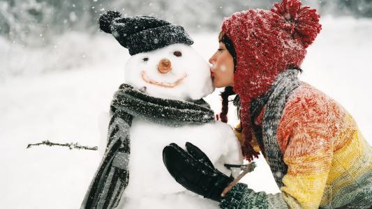 冬天,雪,雪人,女孩,吻