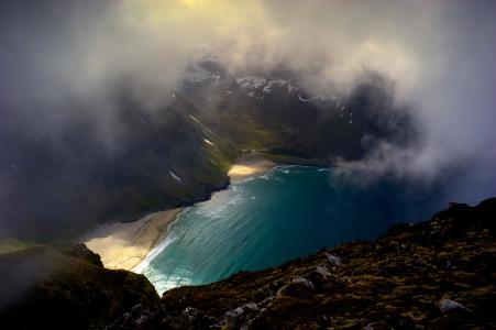 性质,山,湾,冰岛,云,海滩