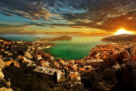 摩纳哥,房屋,沿海,日落,天空,景观,法国里维埃拉,云,海岸,城市