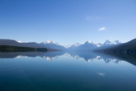 湖,山,性质,天空,雪