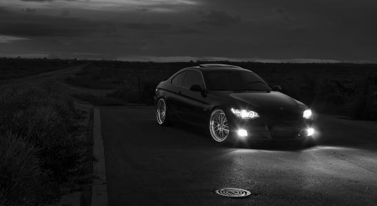 宝马,宝马,道路,晚上,车灯,黑色和白色背景