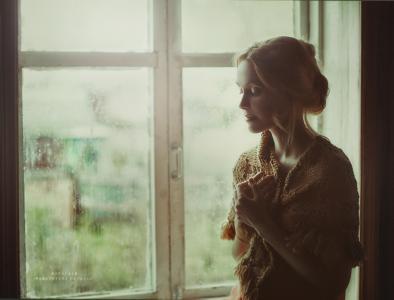 秋天,下雨,靠窗,女孩,心情,悲伤,披肩,披肩
