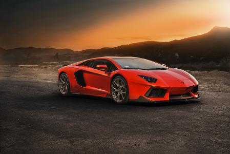 兰博基尼,Aventador,跑车,超级跑车,路,日落,山,自然
