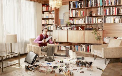 房间,一塌糊涂,电视,广播电子,初学者,创意,白猫