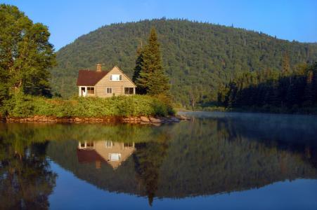 自然,景观,湖,房子,山,树,反射