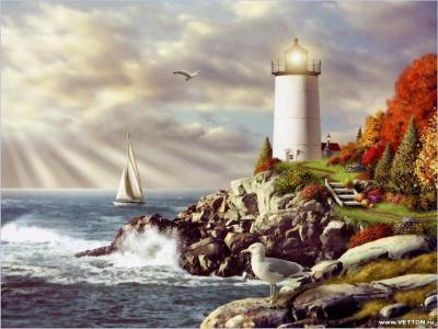海鸥,岸,灯塔,岩石,游艇,海,天空