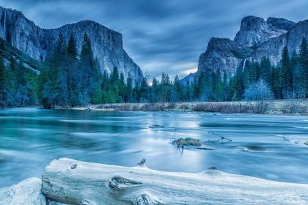 优胜美地,国家公园,内华达山脉,山,湖,森林,树,岩石,冬天,冰,日志,冷杉,云,景观