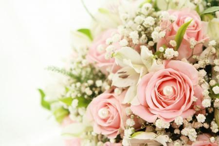 玫瑰,百合,花束,白百合,粉红玫瑰,鲜花