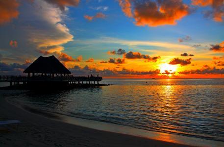 马尔代夫,日落,红色,橙色,黄色,白色,晚上,天空,多云,海,岸,海滩