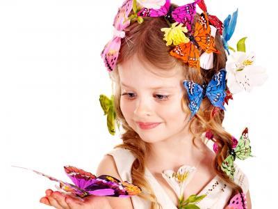 女孩,蝴蝶,照片,鲜花,看,白,背景
