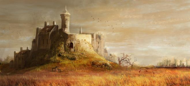 中世纪,城堡,小山,塔,树,草,马