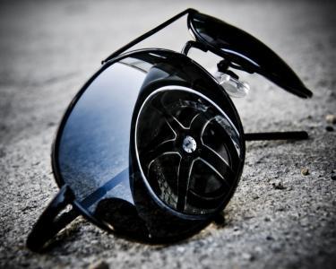 眼镜,黑色,宏,反射,磁盘,钛,车轮