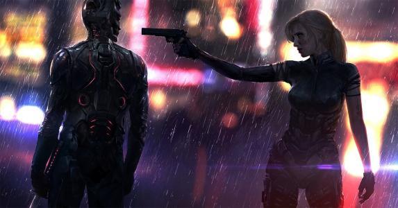 手枪,女孩,剑